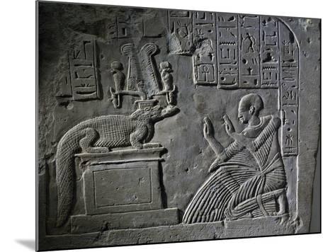 Stele of Aamerout in Prayer before God Sebek-Re, Limestone--Mounted Giclee Print
