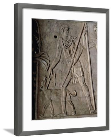 Shepherd with a Staff and Dog on a Leash--Framed Art Print