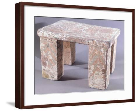 Stone Seat Covered with Painted Stucco--Framed Art Print