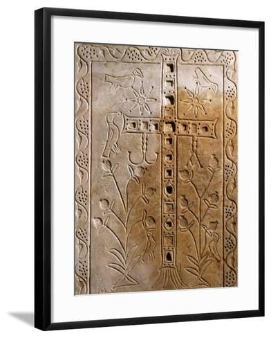 Early Christian Relief with Jeweled Cross--Framed Art Print