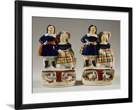 Two Groups of Children with Goslings--Framed Art Print