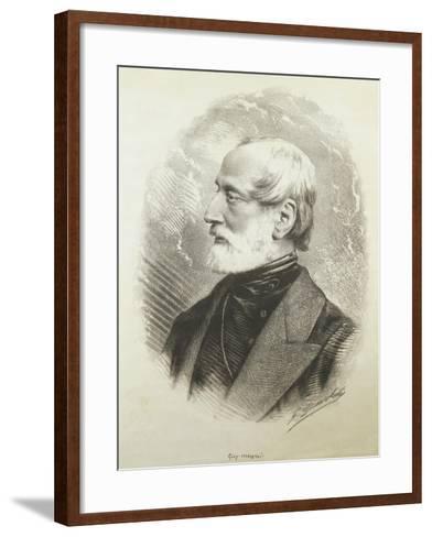 Portrait of Giuseppe Mazzini--Framed Art Print