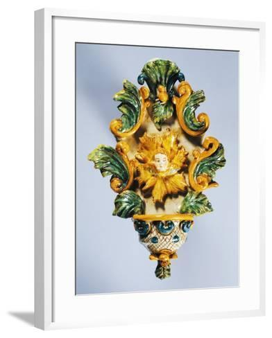 Holy Water Font Decorated in Yellow--Framed Art Print