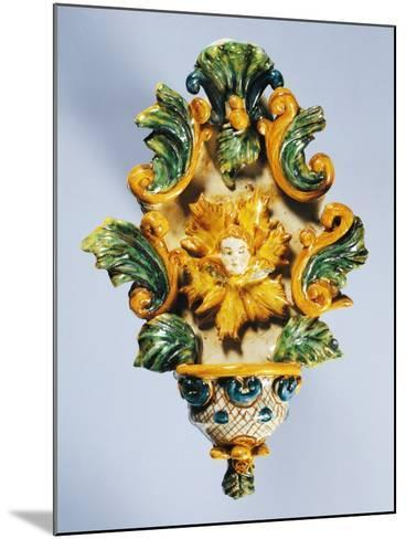 Holy Water Font Decorated in Yellow--Mounted Giclee Print