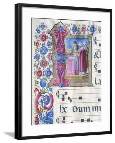 Initial Capital Letter with a Scene of Sacrifice--Framed Art Print