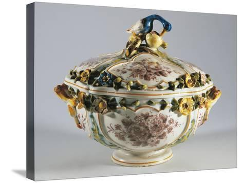 Tureen with Relief Decorations of Flowers and Bird--Stretched Canvas Print
