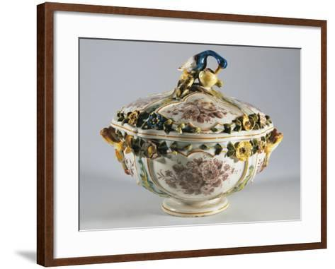 Tureen with Relief Decorations of Flowers and Bird--Framed Art Print