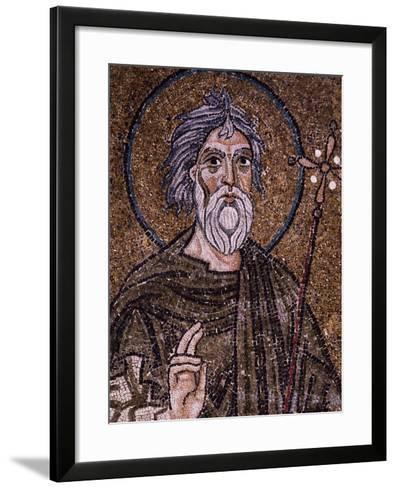 Half- Figure of Apostle Andrew Holding Up Starry Cross--Framed Art Print