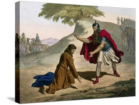 Return of Jacob and His Meeting with Esau from Old Testament--Stretched Canvas Print