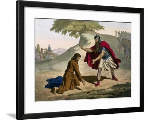 Return of Jacob and His Meeting with Esau from Old Testament--Framed Art Print
