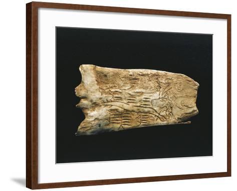 Paleolithic Reindeer Horn Carved into Shapes of Man--Framed Art Print