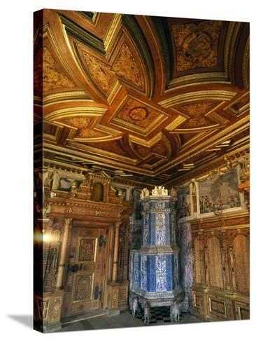 View of Princely Room with Inlaid Ceiling and Majolica Stove--Stretched Canvas Print