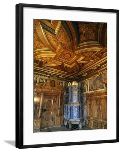 View of Princely Room with Inlaid Ceiling and Majolica Stove--Framed Art Print