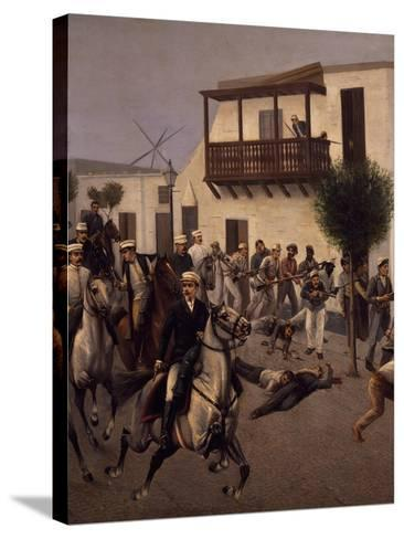 Nicolas De Pierola Heading Cavalry Entering Village of Cocharcas--Stretched Canvas Print