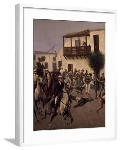 Nicolas De Pierola Heading Cavalry Entering Village of Cocharcas--Framed Art Print