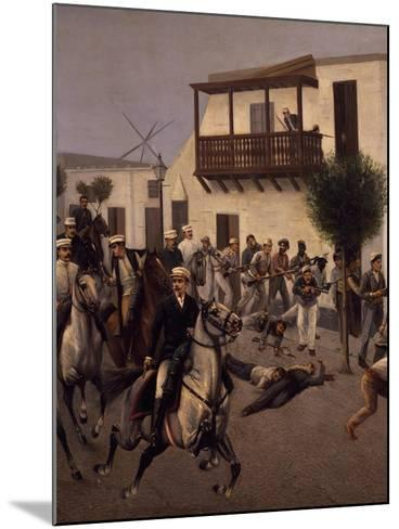 Nicolas De Pierola Heading Cavalry Entering Village of Cocharcas--Mounted Giclee Print