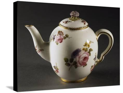 Teapot Decorated with Scattered Bouquets of Flowers--Stretched Canvas Print