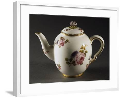 Teapot Decorated with Scattered Bouquets of Flowers--Framed Art Print