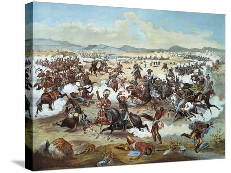 General Custer's Last Stand at Battle of Little Bighorn--Stretched Canvas Print