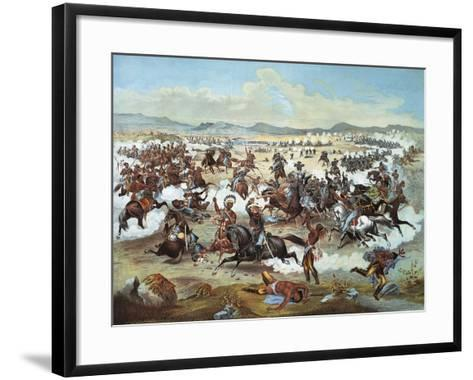 General Custer's Last Stand at Battle of Little Bighorn--Framed Art Print
