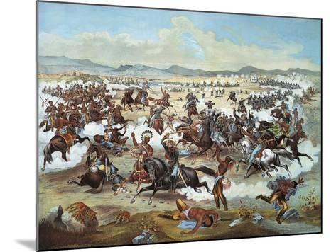 General Custer's Last Stand at Battle of Little Bighorn--Mounted Giclee Print