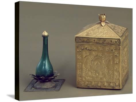 Green Glass Bottle and Reliquary Box Containing 19 Gold Pages--Stretched Canvas Print