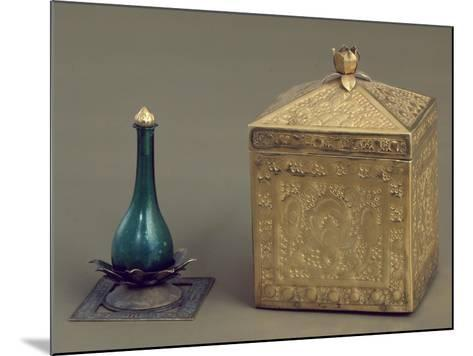 Green Glass Bottle and Reliquary Box Containing 19 Gold Pages--Mounted Giclee Print