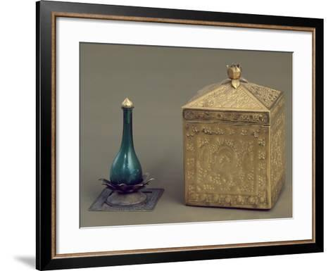 Green Glass Bottle and Reliquary Box Containing 19 Gold Pages--Framed Art Print