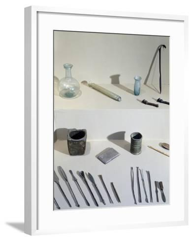 Surgical and Cosmetic Instruments: Diocles' Scraper at Top Right--Framed Art Print
