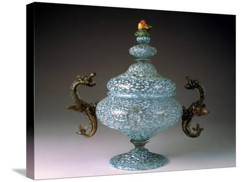 Sugar Bowl with Murino Glassworks Body in Crystal Glass--Stretched Canvas Print