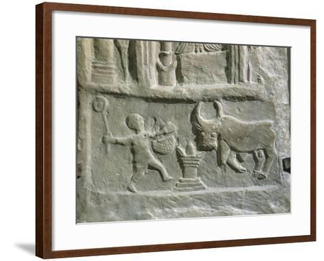 Votive Stele with Reliefs Containing Elements of Berber--Framed Art Print