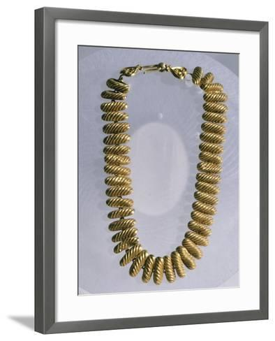 Gold Necklace Made Up of 42 Semi-Cylindrical Elements--Framed Art Print