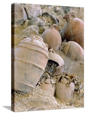 Jars Unearthed at the Archaeological Site of Akrotiri on Thera--Stretched Canvas Print