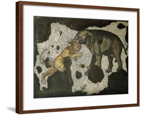 Mosaic Depicting an Elephant Killing a Beast--Framed Art Print