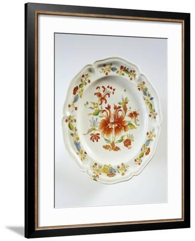 Plate Decorated with Tulips and Chinese-Style Flowers--Framed Art Print