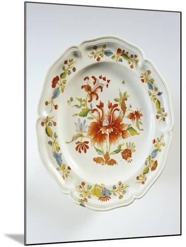 Plate Decorated with Tulips and Chinese-Style Flowers--Mounted Giclee Print