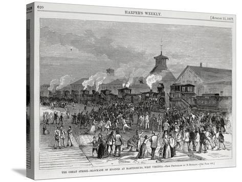 The Great Railway Strike Halting Locomotives at Martinsburg--Stretched Canvas Print
