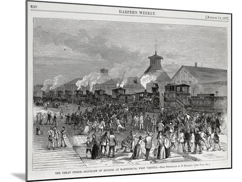 The Great Railway Strike Halting Locomotives at Martinsburg--Mounted Giclee Print