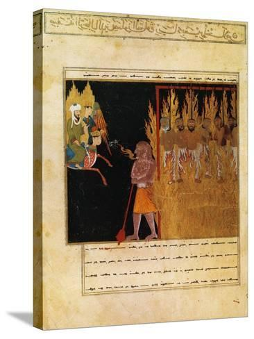 Muhammad Descends into Hell with the Angel Gabriel--Stretched Canvas Print