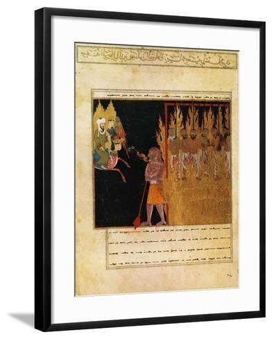Muhammad Descends into Hell with the Angel Gabriel--Framed Art Print
