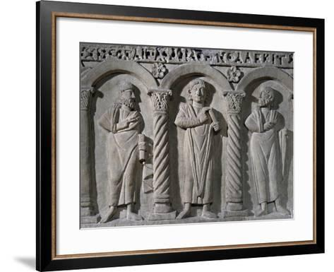 Jesus Christ Donating His Law Positioned Between Peter and Paul--Framed Art Print