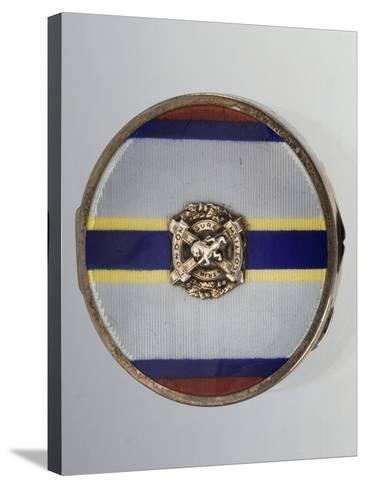 Silver and Enamel Compact Powder Case with Symbol of London Scottish Regiment--Stretched Canvas Print