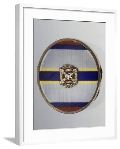 Silver and Enamel Compact Powder Case with Symbol of London Scottish Regiment--Framed Art Print