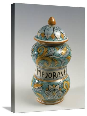 Double Belly Apothecary Jar with Ornate Decorations and 18th-Century Style Flowers--Stretched Canvas Print