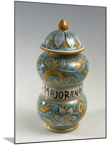 Double Belly Apothecary Jar with Ornate Decorations and 18th-Century Style Flowers--Mounted Giclee Print