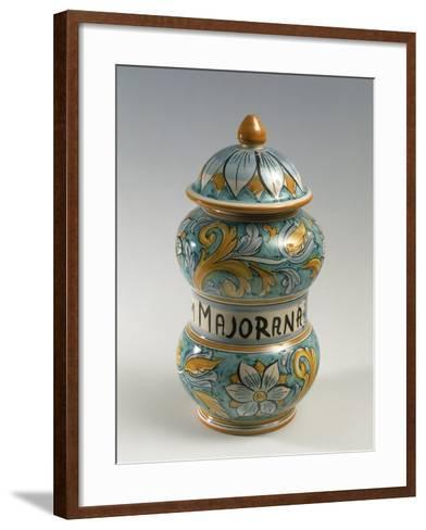 Double Belly Apothecary Jar with Ornate Decorations and 18th-Century Style Flowers--Framed Art Print