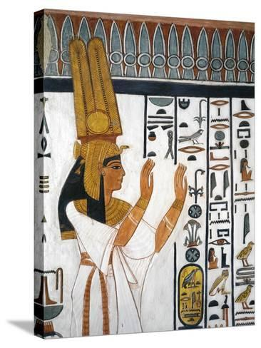 Tomb of Nefertari, Mural Painting of Queen Reciting Mortuary Formula in Burial Chamber--Stretched Canvas Print
