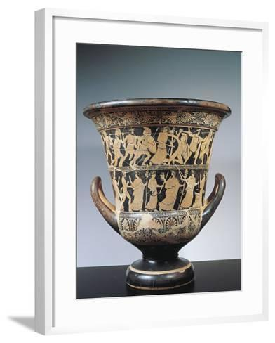 Attic Kalyx Krater Depicting a Gigantomachy and a Dionysiac Procession from the Tomb 313--Framed Art Print