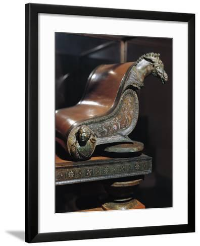 Roman Civilization. Funerary Bed in Bronze. Detail of Decoration and Damascened. from Amiternum--Framed Art Print