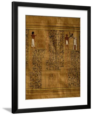 Portion of Book of Dead with Text in Vertical Columns of Hieroglyphs--Framed Art Print